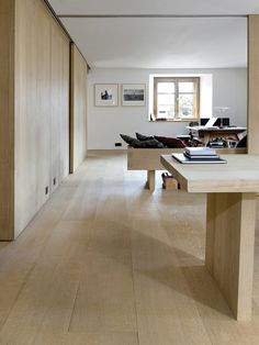Wide oak flooring and wall cladding in Switzerland - Dinesen Interior Cladding, Interior Architecture, Wall Cladding, Scandinavian Interior, Contemporary Interior, Loft Spaces, Living Spaces, Interior Decorating, Interior Design