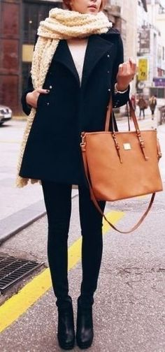 #winter #fashion / cream scarf + black coat