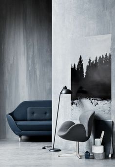 Grey and Blue #furnitures #coach #armchair #lamp - i would love this chair behing my desk
