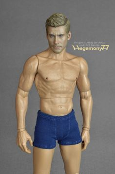 1: 6th scale dark blue boxer briefs, men's underwear for collectible figures and male dolls such Hot Toys TTM 19, Fashion Royalty and similar