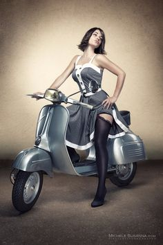 Vespa Sprint & girl, retro photography