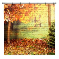 Autumn Leaves with Script Shower Curtain  Choice of by susanakame1, $89.00
