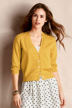 Outfit 5: Women's Skinny V-neck Cardigan from Lands' End Canvas in golden amber! This perfect for fall cardigan is super multifunctional...and under a blazer adds detail and warmth! #CanvasChinos