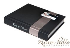3500 Series album with Black Leather with a Taupe Japanese Book Cloth Horizontal Stripe in the 1/3 position. The cover inset photo is mounted on the right hand side of the stripe.
