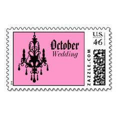 J, or if we could find breast cancer awareness ones.  October Pink and Black Chandelier Wedding Postage