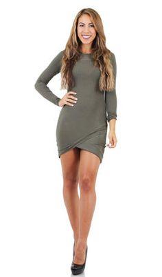JBLA Long Sleeve Rib Dress - 4115 in Olive, grey and black at Estelle's Dressy Dresses