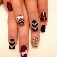 matte nail designs with rhinestones - styles outfits