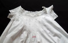 French Vintage Nightgown with Hand by Vintagefrenchlinens on Etsy