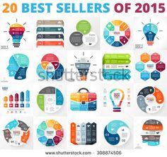 Creative vector arrows infographics set, diagrams, graphs, charts. 3, 4, 5, 6, 7, 8 cycle options, parts, steps. Human head, idea light bulb, plus sign, businessman bag infographic. Top 20 of 2015. - stock vector