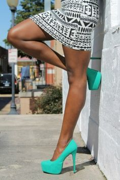 The tribal black  white screams for that aqua color. Pumps I now must own.