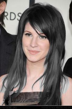 Long hair with side bangs. Love the ice blue peek a boos