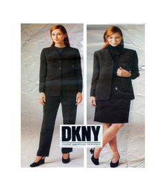 DKNY Designer Suit VOGUE 1982 Modern Classic Cut Size 14-16-18 UNCUT Sewing Pattern Button Front Jacket Pant/Trouser & Straight Skirt by FindCraftyPatterns on Etsy