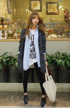 Korean Street Style - grey coat, chambray shirt, white top, black skinny jeans, black sneakers