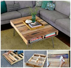 DIY Pallet Coffee Table Wood Pallet Crafts, Pallet Home Decor, Diy Pallet Sofa, Diy Pallet Furniture, Diy Pallet Projects, Wood Pallets, Pallet Ideas, Outdoor Furniture, Palette Furniture