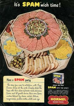 Without the canned reconstituted pork product called Spam we'd all be Nazis. Spam Recipes, Retro Recipes, Old Recipes, Vintage Recipes, Vintage Ads, Vintage Food, Retro Ads, Vintage Cooking, Vintage Stuff
