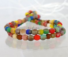 3mm Czech Beads Fiesta Opaque Matte Celsian Fire by simplypie