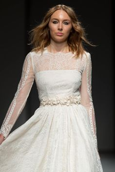 French lace, vintage inspired wedding gown for the modern bohemian bride - Titania - featured at Riga Fashion Week