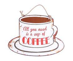 Placa de metal Coffee, gris, blanco y rojo - 45x45 cm