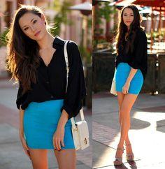 Style Sofia Black Dolman Top, Pacsun Blue Nollie Mini Skirt, Sheinside White Messenger Bag, Steve Madden Nude Platform Heels