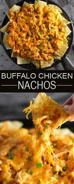 Buffalo Chicken Nachos – Your hungry game day crowd will love this easy appetizer! Buffalo Chicken Nachos – Your hungry game day crowd will love this easy appetizer! Pollo Buffalo, Buffalo Chicken Nachos, Buffalo Ranch, Buffalo Chicken Recipes, Buffalo Chips Recipe, Buffalo Food, I Love Food, Good Food, Yummy Food