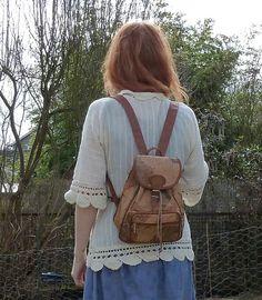 Vintage WORLD MAP Leather Drawstring Backpack by bluebellandbonnet, $32.00