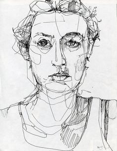 Reminder to do some fast pen portraits to loosen upPortrait. Reminder to do some fast pen portraits to loosen up Life Drawing, Drawing Sketches, Art Drawings, Drawing Faces, Sketching, Blind Contour Drawing, Contour Drawings, Art Visage, Ap Art
