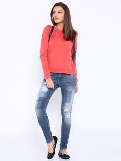 ONLY Blue Ripped Casual Jeans @looksgud  #Only, #Ripped, #Casual