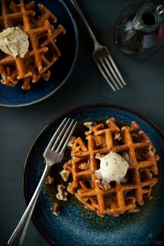 Yeasted Pumpkin Waffles with Sage Maple Butter | Will Cook For Friends