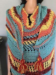 Hand Knit Shawl Triangle Tassels Multicolor Designer Fashion Women Hip Summer | eBay