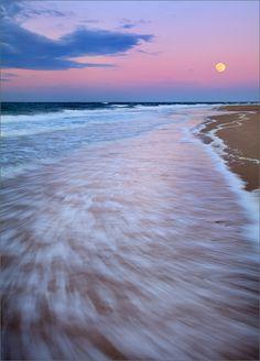 Cape cod, Massachusetts, moon, sunrise, pink, ocean, surf, herring cove, photo