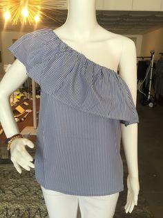 One Shoulder Blue & White Pinstripe Top