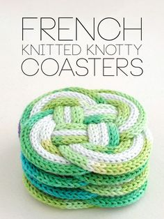 Use French Knitting to Make Cute Knotted Coasters Do you ever do spool knitting or French knitting? It's a different way to make knit cord, much like an I-cord, but if you have a little crank-powered machine that will make the cord for you, … Spool Knitting, Loom Knitting Projects, Loom Knitting Patterns, Knitting Stitches, Free Knitting, Crochet Projects, Crochet Patterns, Start Knitting, Knitting Machine