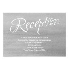 Gray Watercolor Wedding Reception Card