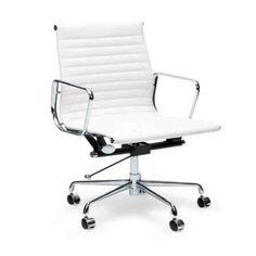 This Aluminium Leather Office Chair designed by Charles and Ray Eames Charles & Ray Eames, Eames Chair Replica, White Desk Chair, Eames Chairs, Bar Chairs, Office Chairs, Dining Chairs, Ikea Chairs, Desk Chairs