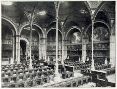 Inside the great lecture room of the old Bibliothèque Nationale, Paris