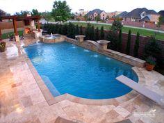 Southernwind Pools Formal / Geometric Pool #048 Diving Pool, Pool Remodel, Inground Pool Designs, Swimming Pool Designs, Swimming Pools, Lap Pools, Pool Landscaping, Backyard Pools, Outdoor Pool
