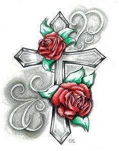cross with rose tattoo designs ideas Tattoo Painting, Tatoo Art, Tattoo Sketch, Tattoo Drawings, Cross Tattoo Designs, Flower Tattoo Designs, Cross Designs, Rose Tattoos, Body Art Tattoos