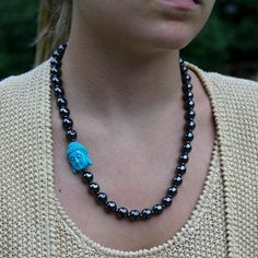 Hematite Blue Buddha Necklace 18 Elle Taylor, Turquoise Necklace, Beaded Necklace, Buddha, 18th, Blue, Etsy, Jewelry, Beaded Collar