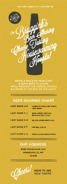 Beer & Cheese party - love this idea (especially the BYOB instructions)