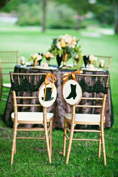 Lace on chairs instead of bows or chair covers.