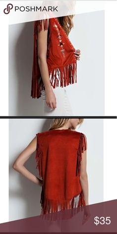 NWT rust geometric embroidered fringed vest, Sz. S Brand new rust faux-suede embroidered vest with long swaying tassels that dance as you move.   OFFERS WELCOME! Spicy Mix Tops