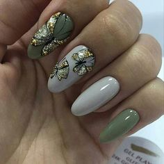 New Gel Manicure Short Nails Simple Shape Ideas Manicure Colors, Pedicure Nail Art, Gel Manicure, Fall Pedicure Designs, Nail Art Designs, Nails Polish, Butterfly Nail, Green Nails, Nagel Gel