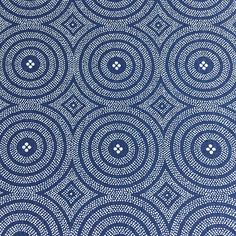 A simple blue and white shweshwe fabric. This is the original shwe shwe from South Africa, from the popular three cats brand. To give you an idea of the scale of the pattern, look at the last image above which shows a tape rule shown in inches. Each circle is about 1.75 inches,