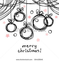 Vector christmas doodle background. Cute christmas balls in hand drawn childish sketch style. Invitation and greeting decorative card. Abstract simple winter holiday linear illustration with text box