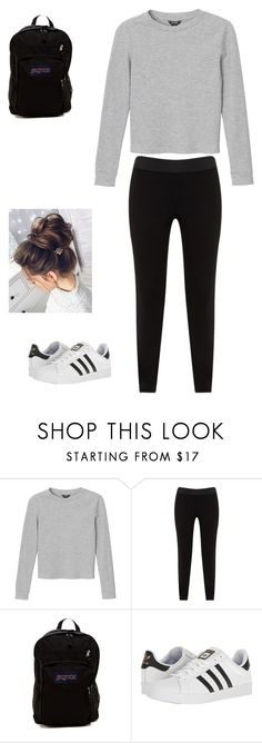"""""""ASTRO JinWoo inspired outfit"""" by astro-bangtan on Polyvore featuring interior, interiors, interior design, home, home decor, interior decorating, Monki, JunaRose, JanSport and adidas"""