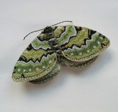 Embroidered moth brooch Green Carpet textile art by AgnesandCora Textured Carpet, Patterned Carpet, Neutral Carpet, Textile Jewelry, Textile Art, Free Machine Embroidery, Hand Embroidery, Textiles, Bug Art