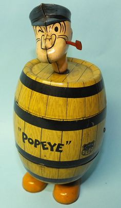 1932 ANTIQUE CHEIN POPEYE IN BARREL TIN MECHANICAL WIND UP TOY | Toys of Times Past