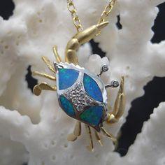 14kt opal/diamond crab