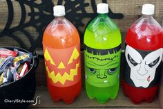 Make fun Halloween soda bottle labels to dress up your table! Frankenstein, Dracula and pumpkin printables turn two-liter bottles into instant décor.