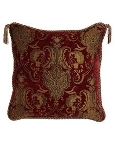 """Reversible Pillow with Two Beaded Tassels, 20""""Sq."""